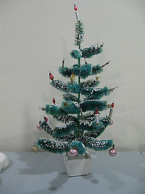 "Vintage Antique Bottle Brush Chenille Christmas Tree Ornaments 18.5"" tall"