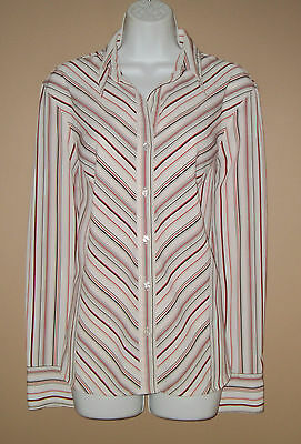 Womens Size XL Long Sleeve Red Black White Striped Career Blouse Top Shirt