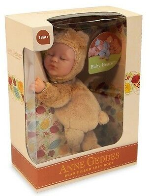 ANNE GEDDES 'Baby Bear' Bean Filled Soft Doll Light Brown - New in Box