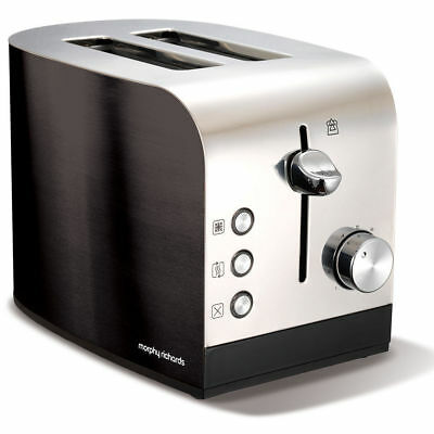 Morphy Richards 44209 Accents 2 Slice Toaster w/ Removable Tray Chrome/Black
