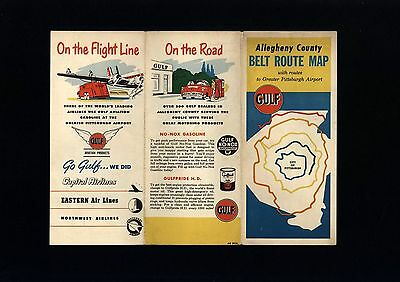 Gulf Allegheny County (PA) 1957 Belt Route Map