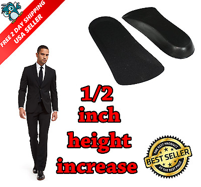"Men 2 Pairs 1/2 Inches Elevator Shoe Insole Taller Increase 0.5"" Height Lift NEW"