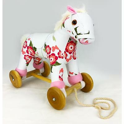 Wooden & Plush Pull Along Pony Horse with Sound - Floral