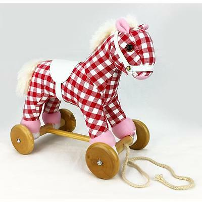 Wooden & Plush Pull Along Pony Horse with Sound - Cherry Ripe