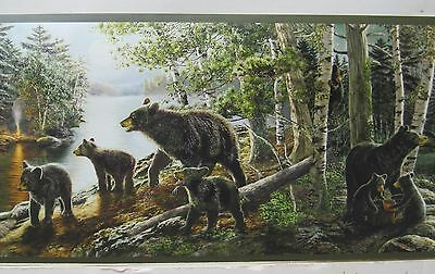 BLACK BEAR with CUBS in the WOODS & STREAM Wallpaper Border 6""