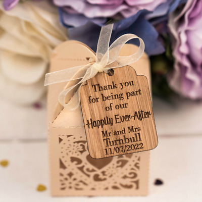 Wedding Favour Thank You Tags Wooden Happily Ever After Eur 1 12