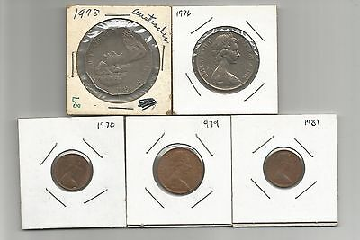 Lot of 5 Austrailain Coins