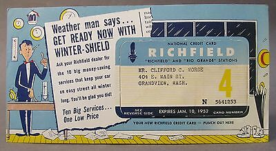 1952 RICHFIELD OIL gasoline NATIONAL credit card WITH advertising piece