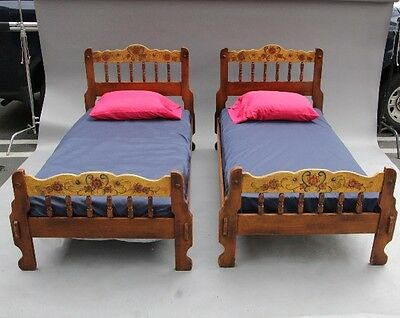 Pair 1930s Hand Painted Monterey Beds Antique Rancho Bedroom Vintage (10127)