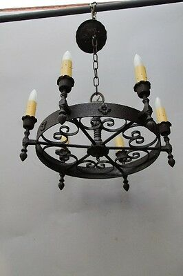 1 of 2 1920s Spanish Revival Antique Classic Round Iron Chandelier Light (10121)