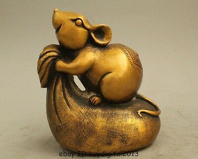 "6"" Chinese Fengshui Copper Zodiac Year Mouse Moneybag Wealth Rich Cai Statue"