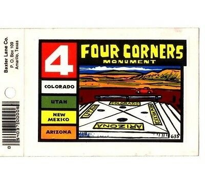 Lot of 12 4 Corners Monument Souvenir Luggage Decals Stickers - New - Free S&H