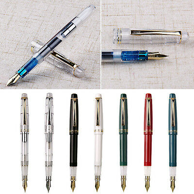 Fresh Model Wing Sung 659 Transparent Fountain Pen With 2 Nibs Silver Clip QW