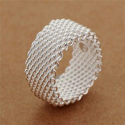 925 Sterling Silver Solid High Polished Net Mesh Weave Band Design Ring