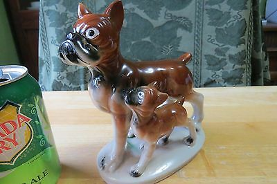Mid Century Vintage Boxer Dog Figurine Statue Mom with Pup
