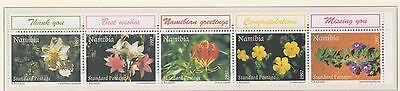 (SWB-28) 1997 Namibia 5strip of flowers greetings stamps MUH