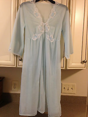 Vintage Kayser Made in USA Blue Sheer Nylon Night Gowns Robe Small Stunning