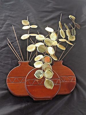 Vintage Mid Century Modern Wood Metal Brass Wall Sculpture Art Plant Pot