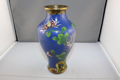 "Antique Rare Shaped & Design Cloisonne Vase Blue Background  7.5"" High + Stand"