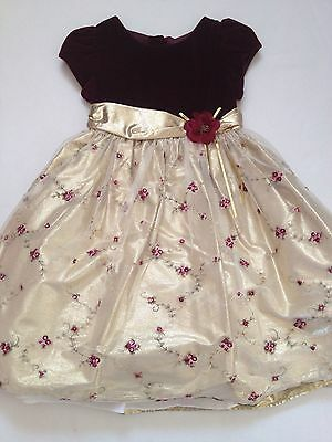VGUC Muneca Girls Flower Gold Red Tulle Easter Party Birthday Wedding Dress 6