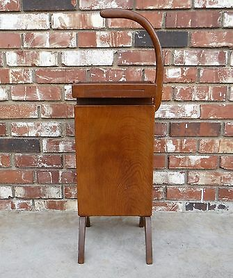 Vintage Danish Mid-Century Modern Wood Telephone Stand w/Side Drawer & Shelf