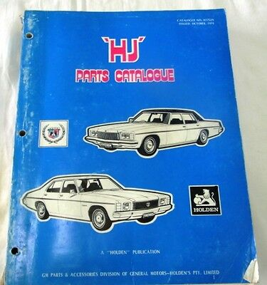 Holden Hj Series Parts Catalogue 1974