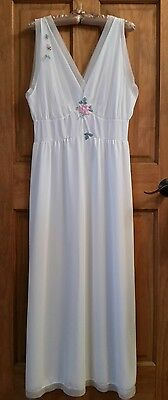 White Vintage Retro Lace Gown Long Sleeveless Nightgown L Large