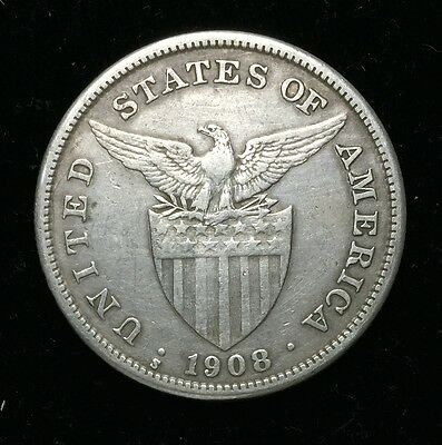 1908s US-Philippines 1 Peso Silver Coin - lot #2