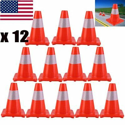 """12PCS Safety Traffic Parking Cone 12"""" inch with Reflective Caution Strips Orange"""