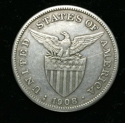 1908s US-Philippines 1 Peso Silver Coin - lot #17