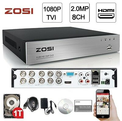 Zosi 8Ch 1080p 4-in-1 HDMI Hybrid Network P2P DVR Free Mobile App + 1TB HDD