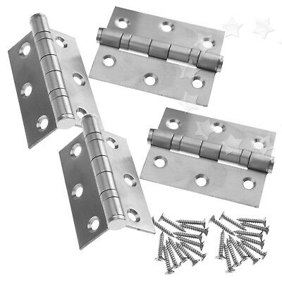 "4pcs 3"" Double Ball Bearing Butt Door Hinge Fire Rated FD30/60 Stainless Steel"
