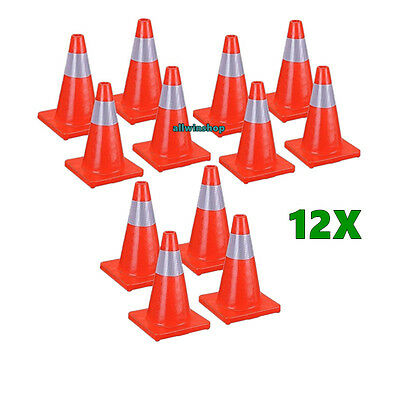 "12PCS Safety Traffic Parking Cone 18"" inch with Reflective Caution Strips Orange"