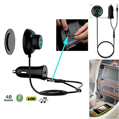 Bluetooth Car Kit Bundle Audio Receiver Adapter and Charger USB magnetic base US
