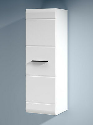 White High Gloss Door Tall Wall Unit Narrow Cabinet Black Handle Fever 40 cm 125