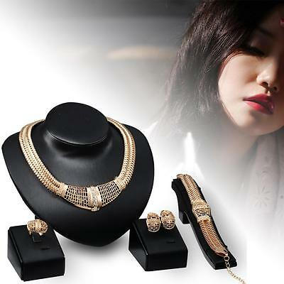 New Stylish Women African Jewelry Sets Gold Plated Alloy Wedding Necklace Set GU