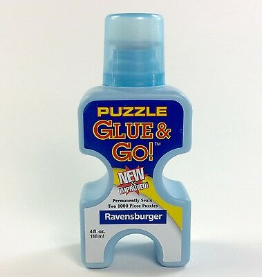 NEW Ravensburger Puzzle Glue & Go 4 oz bottle liquid Seals 2 1000 piece puzzles