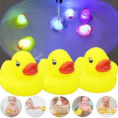 3Pcs Yellow Baby Kids Children Bath Toy Rubber Race Squeaky Duck of LED Light GU
