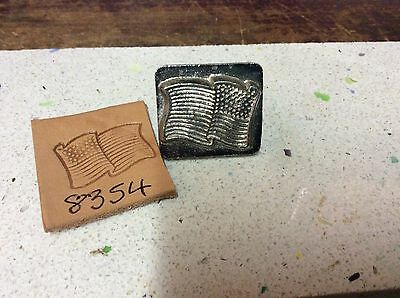 3D Vintage Leathercraft leather working Tandy craftool stamp American flag 8354