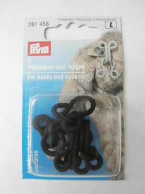 Prym Set Of 3 Black Fur Hooks And Eyes Large Fastenings Fur Coat