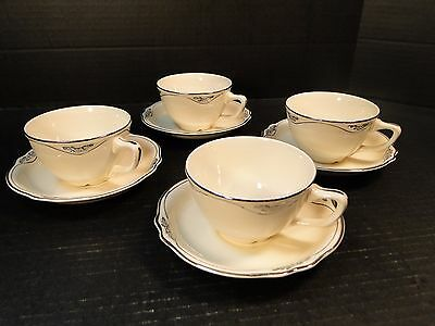 Homer Laughlin Virginia Rose Silver Patrician Tea Cup Saucer Sets FOUR Sets EUC!