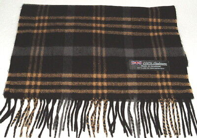 100% CASHMERE BLACK CAMEL PLAID SCARF MADE in SCOTLAND MENS #49