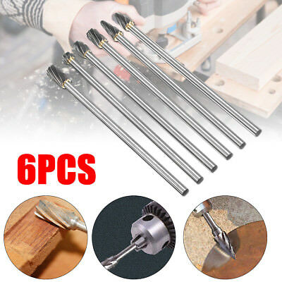 6Pcs 10mm Aluminum Rotary Burr Cut 150mm Long Reach Carbide Burs 6mm 1/4'' Shank
