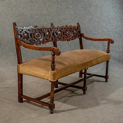 Antique Oak Settee Sofa Upholstered Bench 2 or 3 Seater Edwardian English c1910