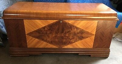 Antique Art Deco Waterfall Standard Lines Cedar Storage Hope Chest Lock Removed