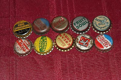 Cork Lined Bottle Caps - Set of 10 - Different Styles, different brands - Lot 9