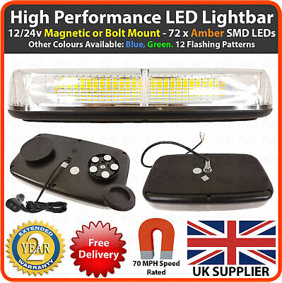 12/24v Amber LED Mini Lightbar Magnetic / Bolt Flashing Beacon Recovery Light