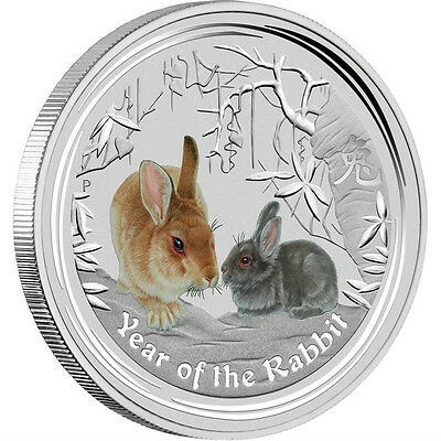 2011 Lunar Year of the Rabbit Colored 1 oz .999 silver