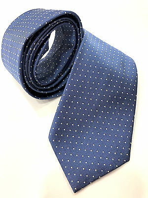 Paul Smith Tie Blue with Silver Spots 100% Silk Woven Made in Italy