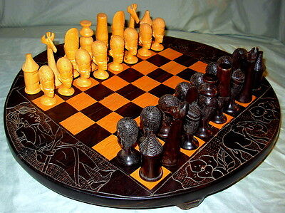 Authentic Vintage African Hand Carved Tribal Ebony/Sandalwood Chess Set